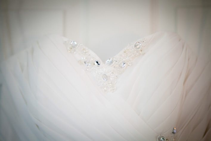 brides dress close up