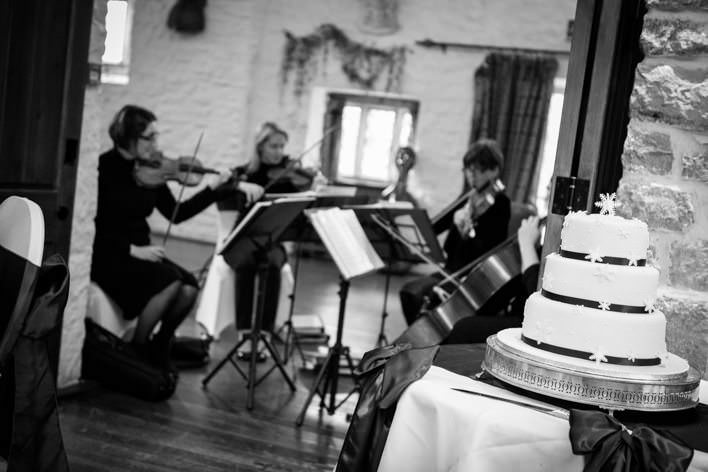 string quartet playing at wedding breakfast